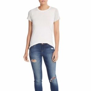 Vince Two Tone White Gray Pima Cotton T-Shirt XS
